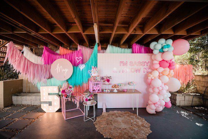 """I'm Sassy and I know it"" Girly Glam 5th Birthday Party on Kara's Party Ideas   KarasPartyIdeas.com (7)"