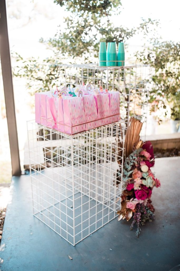 """Wire Favor Sack Table from an """"I'm Sassy and I know it"""" Girly Glam 5th Birthday Party on Kara's Party Ideas   KarasPartyIdeas.com (50)"""