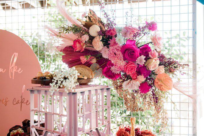 "Boho Floral Spray from an ""I'm Sassy and I know it"" Girly Glam 5th Birthday Party on Kara's Party Ideas   KarasPartyIdeas.com (48)"