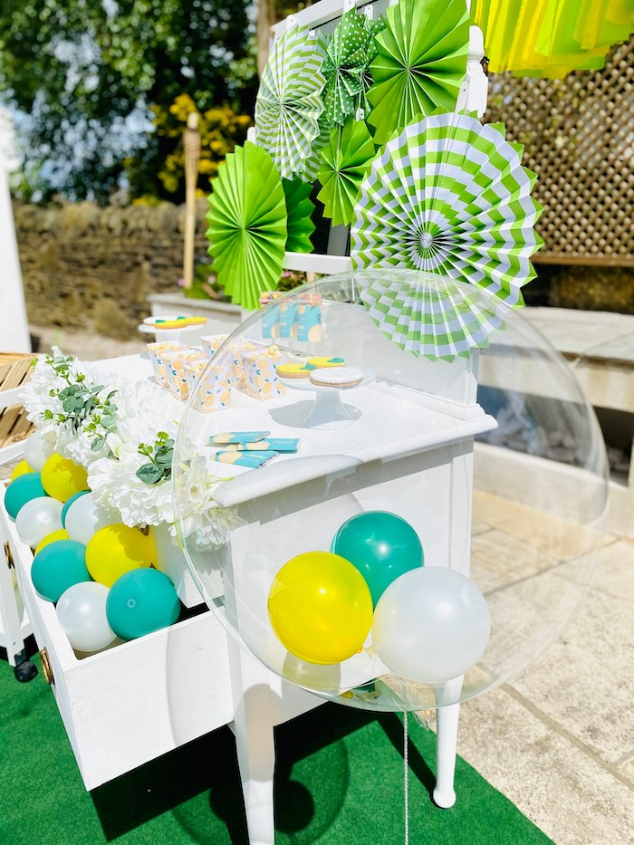 "Balloons inside a Clear Jumbo Balloon from a ""When Life Gives You Lemons"" Quarantine Birthday Party on Kara's Party Ideas 