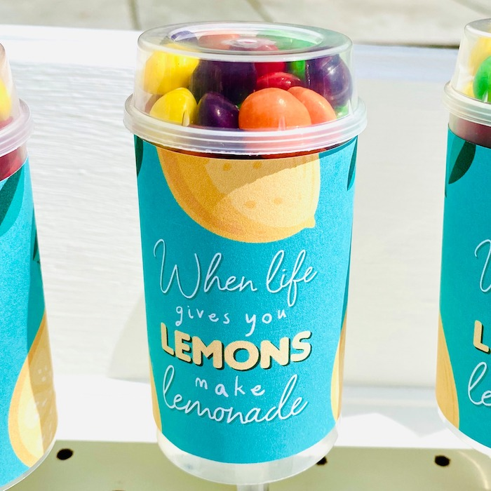 "Lemon-inspired Candy Push Pops from a ""When Life Gives You Lemons"" Quarantine Birthday Party on Kara's Party Ideas 
