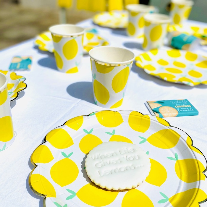 "Lemon Themed Table Settings + Partyware from a ""When Life Gives You Lemons"" Quarantine Birthday Party on Kara's Party Ideas 