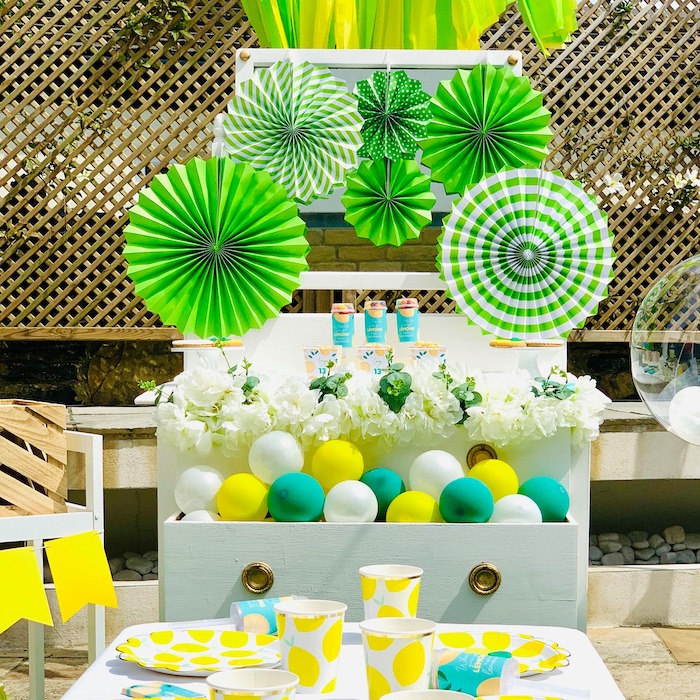 "Lemon Themed Dessert + Party Tables from a ""When Life Gives You Lemons"" Quarantine Birthday Party on Kara's Party Ideas 