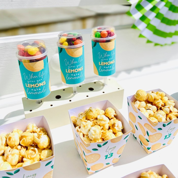 "Candy Push Pops + Popcorn Boxes from a ""When Life Gives You Lemons"" Quarantine Birthday Party on Kara's Party Ideas 