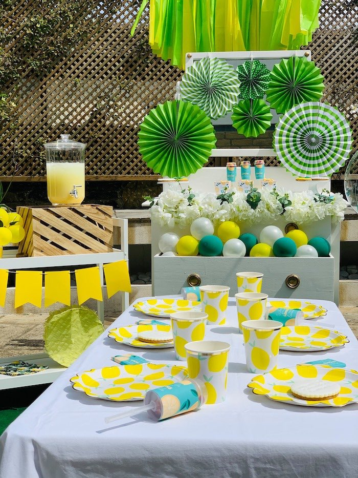 "Lemon Themed Guest Table from a ""When Life Gives You Lemons"" Quarantine Birthday Party on Kara's Party Ideas 