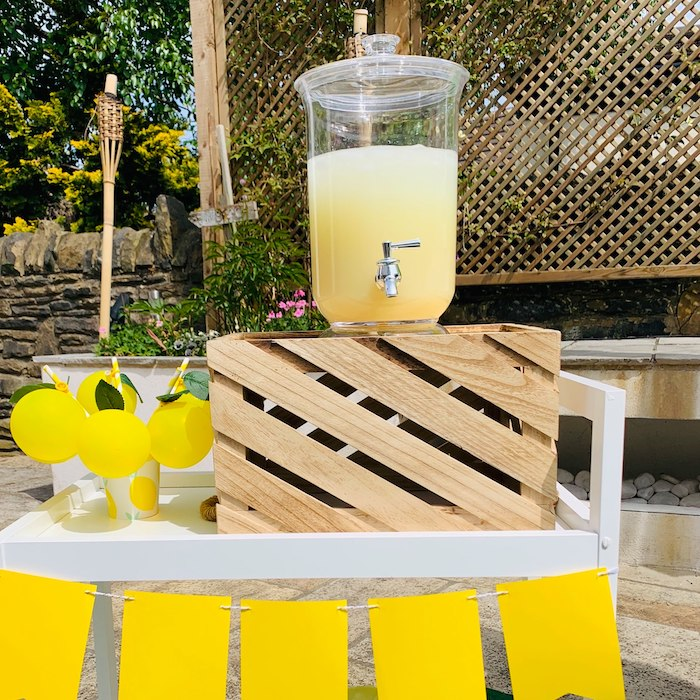 "Lemon Themed Beverage Bar from a ""When Life Gives You Lemons"" Quarantine Birthday Party on Kara's Party Ideas 