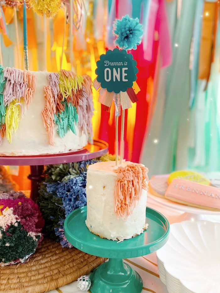 Smash Cake from an Anthropologie Inspired Bohemian Birthday Party on Kara's Party Ideas | KarasPartyIdeas.com (37)