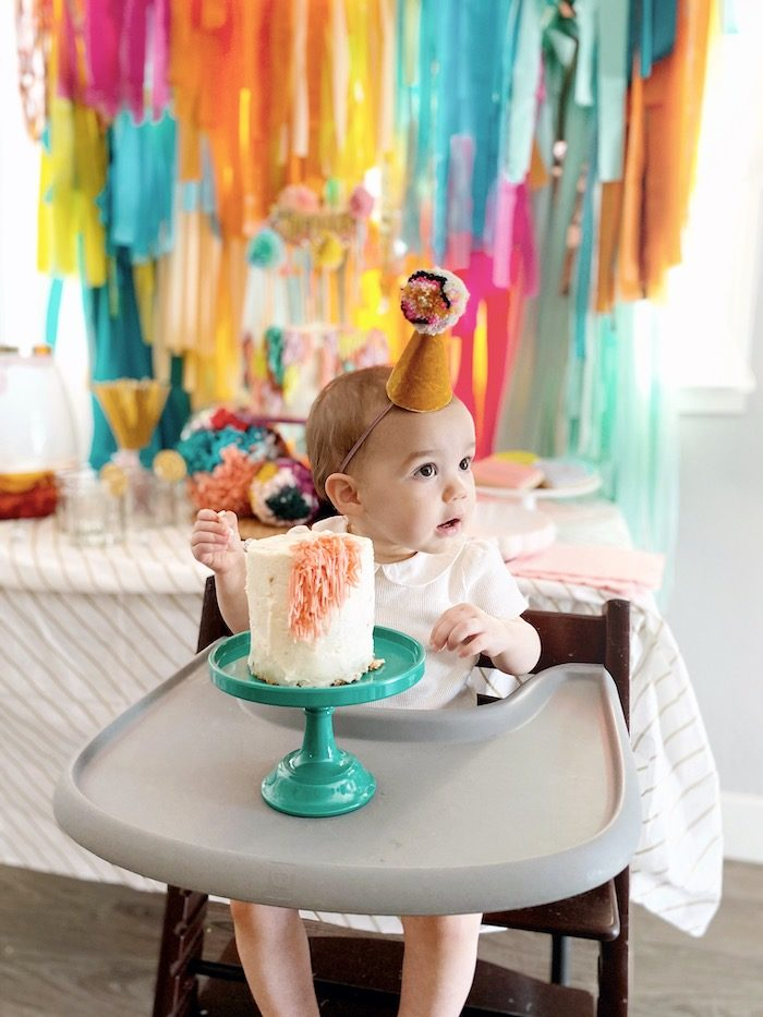 Cake Smash from an Anthropologie Inspired Bohemian Birthday Party on Kara's Party Ideas | KarasPartyIdeas.com (30)