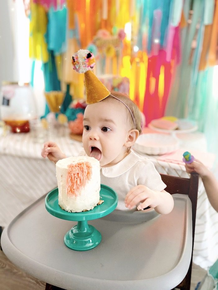 Cake Smash from an Anthropologie Inspired Bohemian Birthday Party on Kara's Party Ideas | KarasPartyIdeas.com (29)