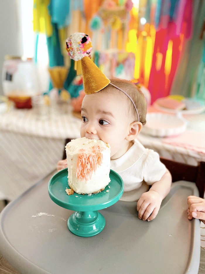 Cake Smash from an Anthropologie Inspired Bohemian Birthday Party on Kara's Party Ideas | KarasPartyIdeas.com (27)