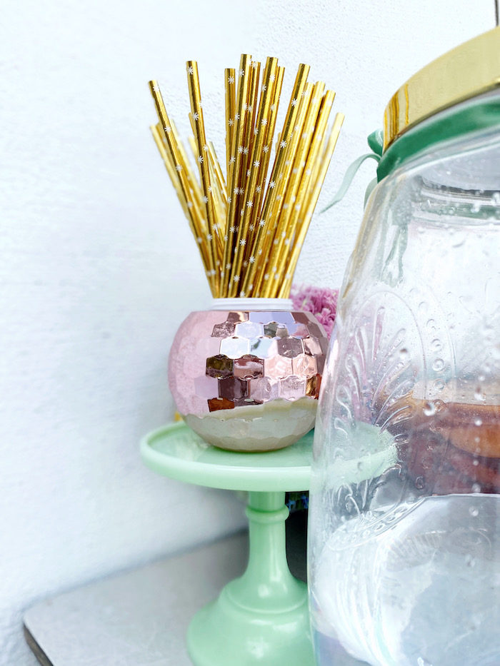 Disco Ball Straw Container from an Anthropologie Inspired Bohemian Birthday Party on Kara's Party Ideas | KarasPartyIdeas.com (25)