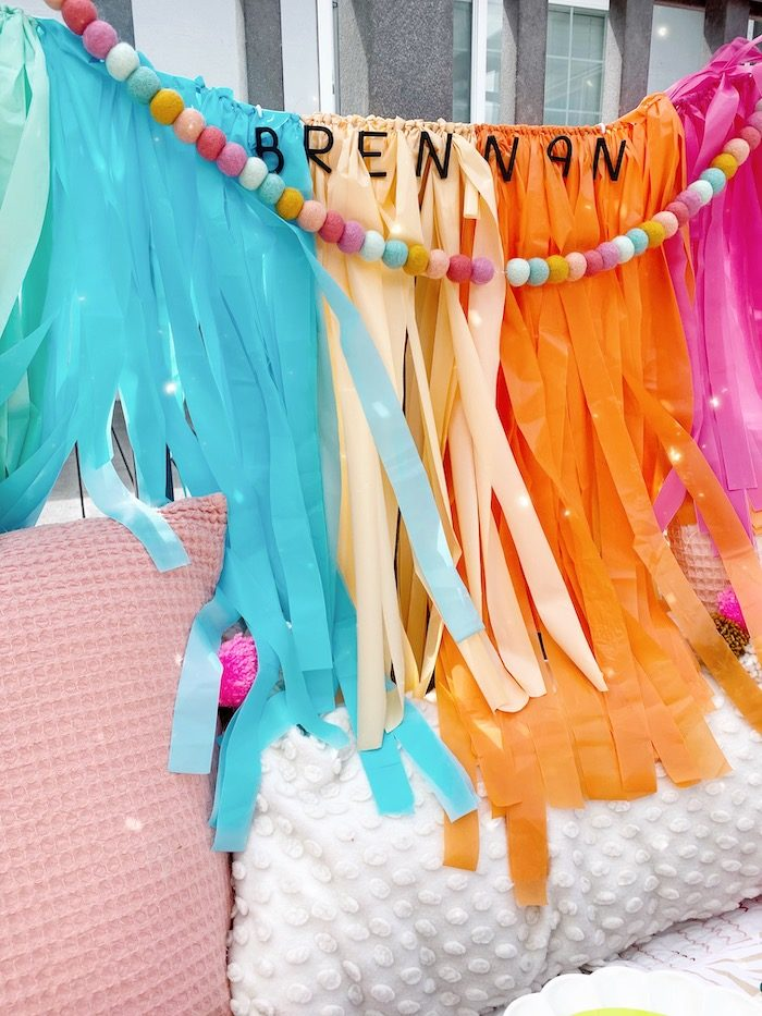 Colorful Tissue Tassel Banner from an Anthropologie Inspired Bohemian Birthday Party on Kara's Party Ideas | KarasPartyIdeas.com (22)