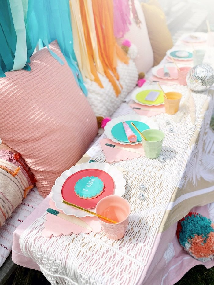 Colorful Anthropologie Boho Party Table from an Anthropologie Inspired Bohemian Birthday Party on Kara's Party Ideas | KarasPartyIdeas.com (21)