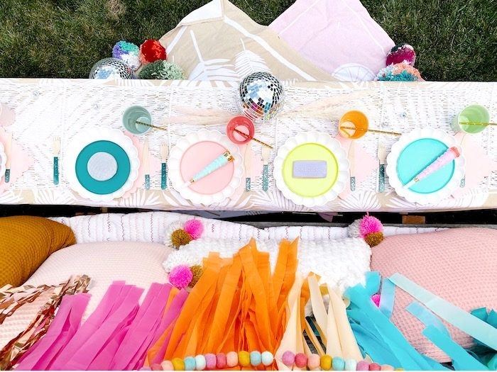 Colorful Boho Party Table from an Anthropologie Inspired Bohemian Birthday Party on Kara's Party Ideas | KarasPartyIdeas.com (18)