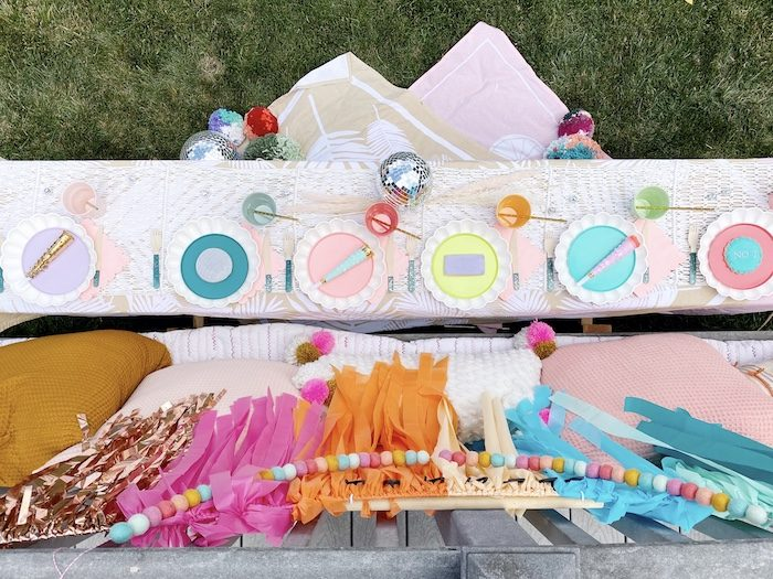 Colorful Boho Party Table from an Anthropologie Inspired Bohemian Birthday Party on Kara's Party Ideas | KarasPartyIdeas.com (17)