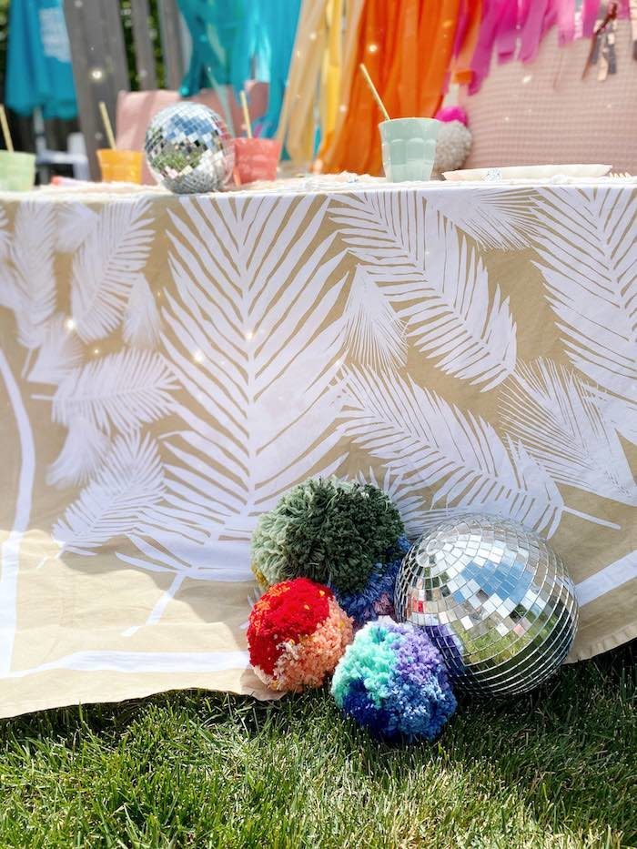 Pom Pom & Disco Ball Decorations from an Anthropologie Inspired Bohemian Birthday Party on Kara's Party Ideas | KarasPartyIdeas.com (15)