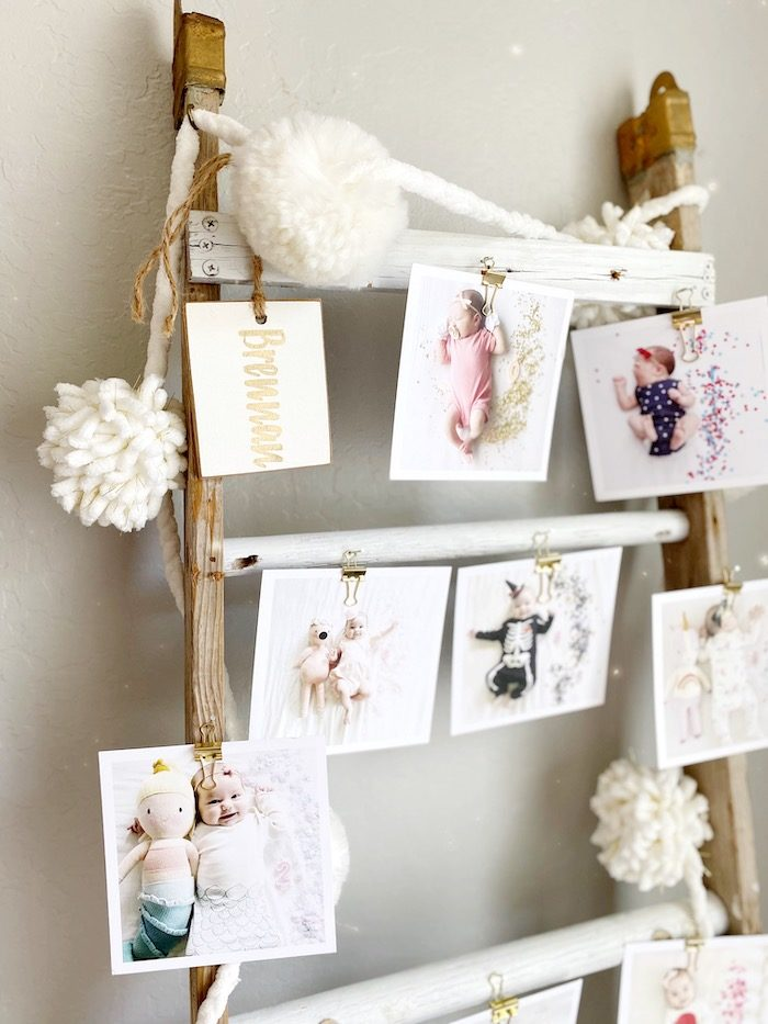 Ladder First Year Photo Banner from an Anthropologie Inspired Bohemian Birthday Party on Kara's Party Ideas | KarasPartyIdeas.com (45)