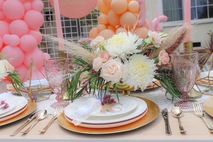 Boho Table Setting from a Bohemian Quarantine Drive-By Party on Kara's Party Ideas | KarasPartyIdeas.com (15)