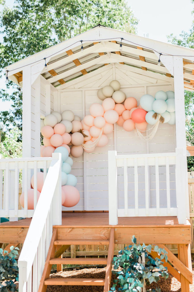 Balloon Garland Playhouse from a Boho Classic Disney World Princess Birthday Party on Kara's Party Ideas | KarasPartyIdeas.com (28)