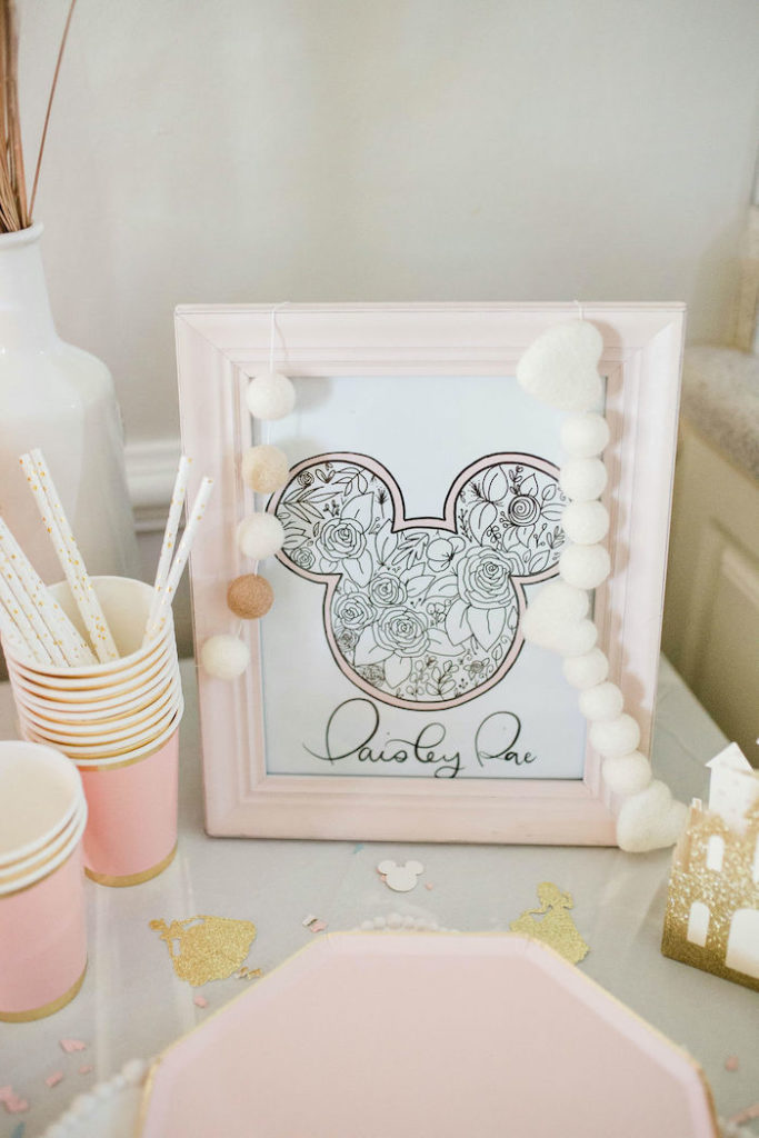 Custom Floral Mickey Mouse Ear Print from a Boho Classic Disney World Princess Birthday Party on Kara's Party Ideas | KarasPartyIdeas.com (18)