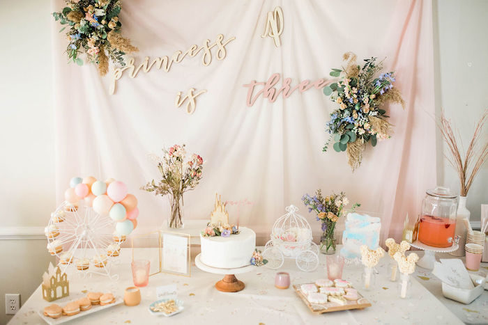 Princess Themed Dessert Table from a Boho Classic Disney World Princess Birthday Party on Kara's Party Ideas | KarasPartyIdeas.com (7)