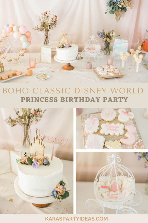 Boho Classic Disney World Princess Birthday Party via Kara's Party Ideas - KarasPartyIdeas.com