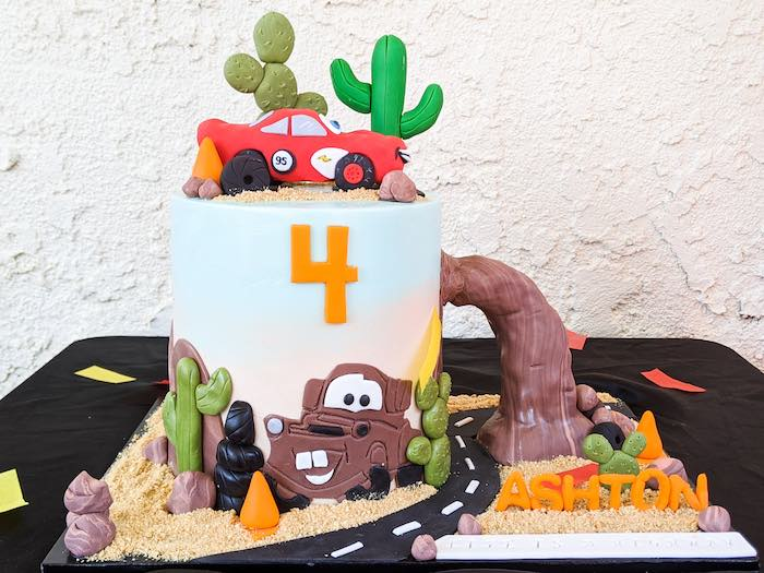 Cars Birthday Cake from a Cars Drive-Up + Art Walk Quarantine Birthday Party on Kara's Party Ideas | KarasPartyIdeas.com (9)