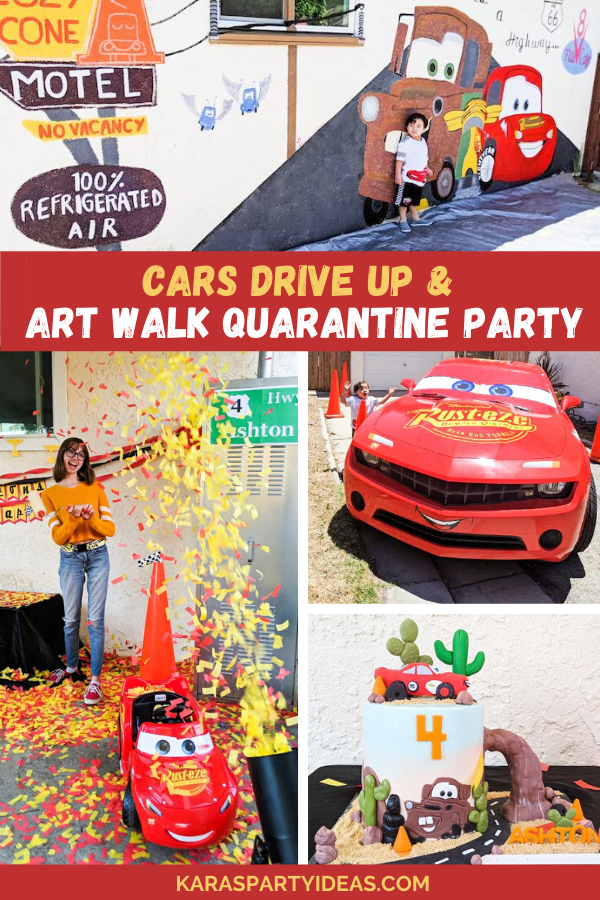Cars Drive-Up & Art Walk Quaratine Party via Kara's Party Ideas - KarasPartyIdeas.com