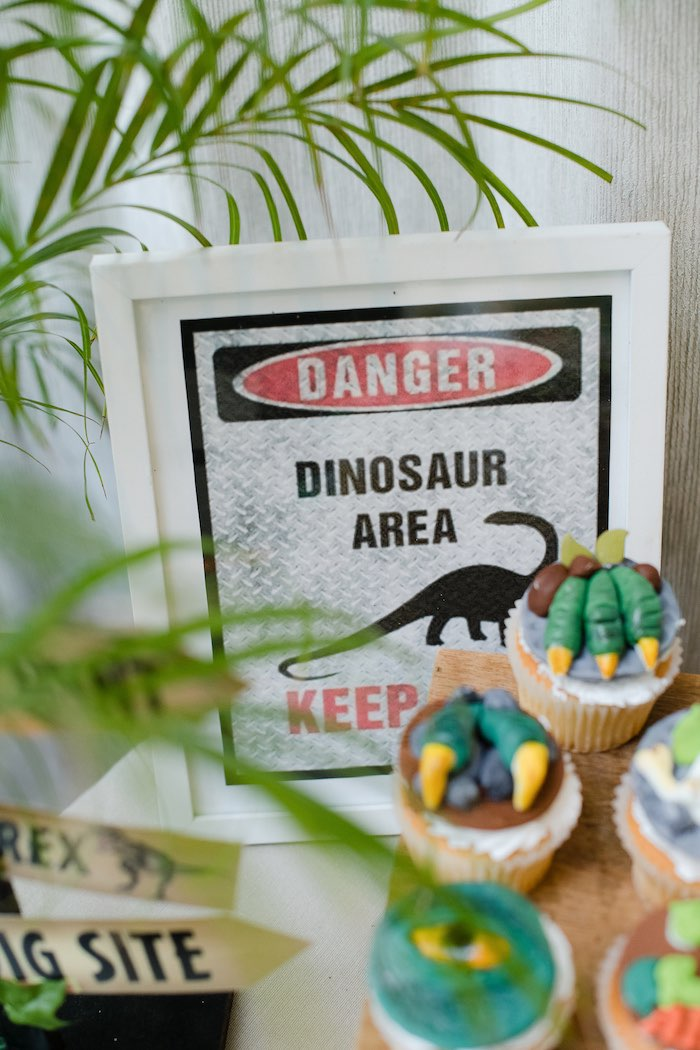Danger Dinosaur Party Signage from a Colorful Dinosaur Birthday Party on Kara's Party Ideas | KarasPartyIdeas.com (21)