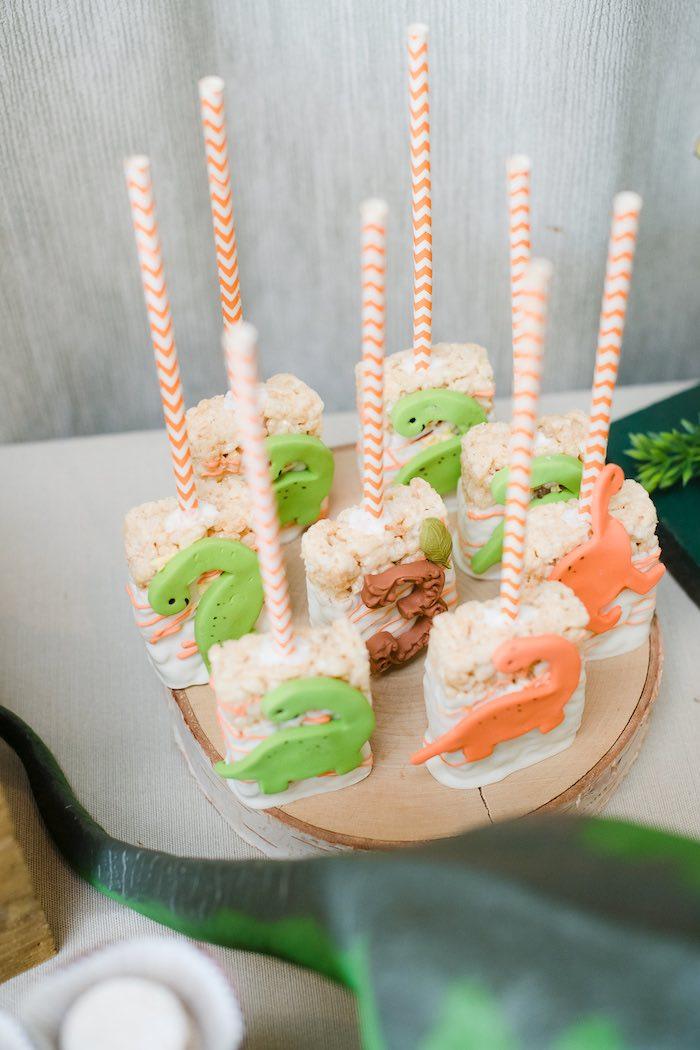 Dinosaur Rice Krispie Treat Pops from a Colorful Dinosaur Birthday Party on Kara's Party Ideas | KarasPartyIdeas.com (20)