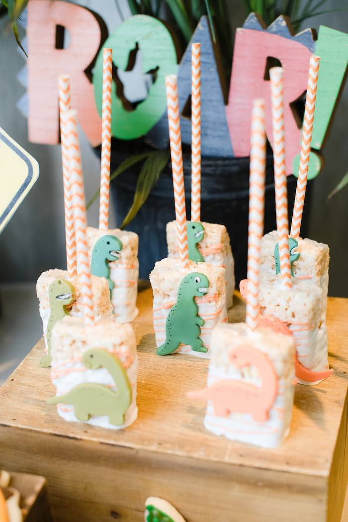 Dinosaur Rice Krispie Treat Pops from a Colorful Dinosaur Birthday Party on Kara's Party Ideas | KarasPartyIdeas.com (18)