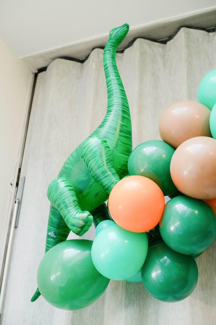 Dinosaur Balloon Install from a Colorful Dinosaur Birthday Party on Kara's Party Ideas | KarasPartyIdeas.com (16)