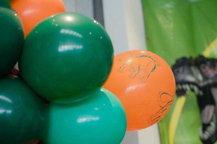 Dinosaur-printed Balloon from a Colorful Dinosaur Birthday Party on Kara's Party Ideas | KarasPartyIdeas.com (15)