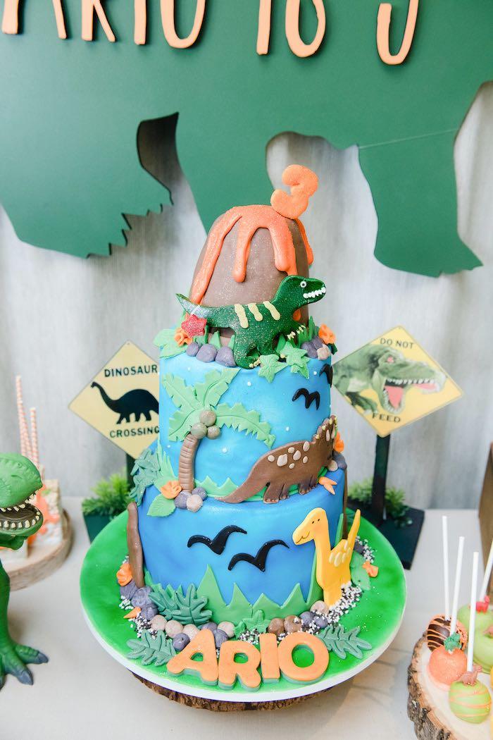 Dinosaur Cake from a Colorful Dinosaur Birthday Party on Kara's Party Ideas | KarasPartyIdeas.com (13)