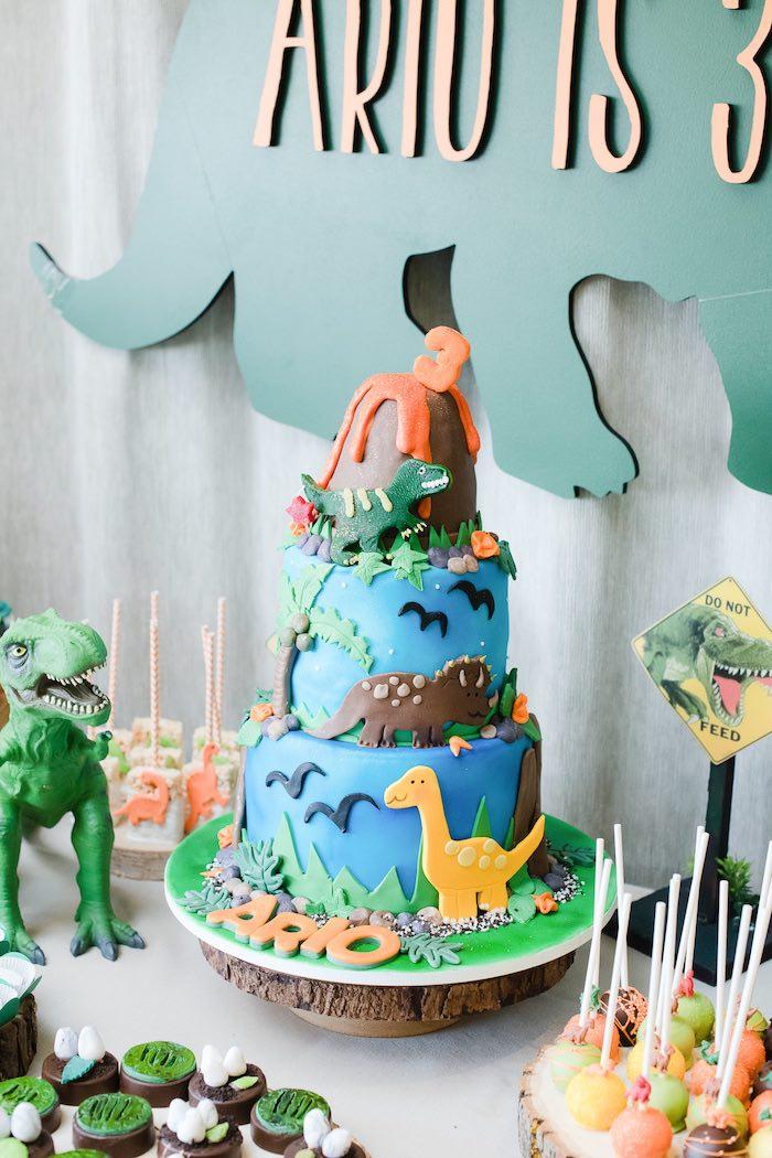 Dinosaur Cake Table from a Colorful Dinosaur Birthday Party on Kara's Party Ideas | KarasPartyIdeas.com (12)