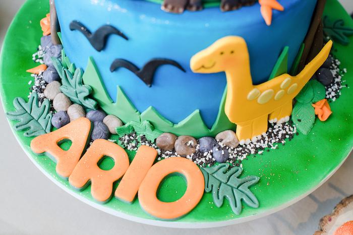 Dinosaur Cake from a Colorful Dinosaur Birthday Party on Kara's Party Ideas | KarasPartyIdeas.com (11)