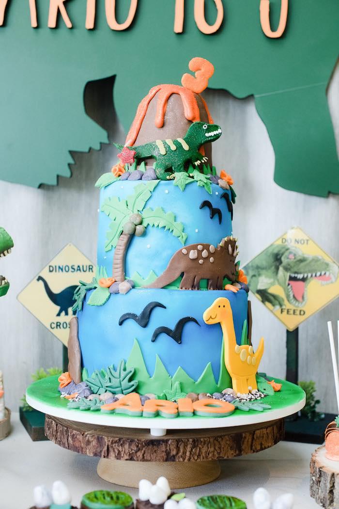 Dinosaur Cake from a Colorful Dinosaur Birthday Party on Kara's Party Ideas | KarasPartyIdeas.com (10)