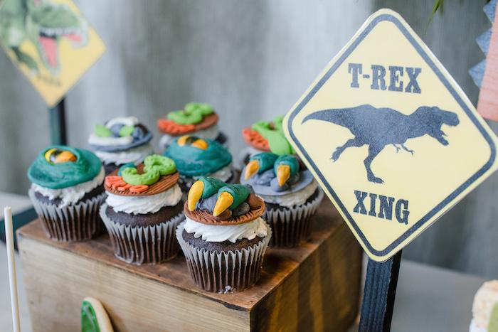 Dinosaur Themed Cupcakes from a Colorful Dinosaur Birthday Party on Kara's Party Ideas | KarasPartyIdeas.com (31)