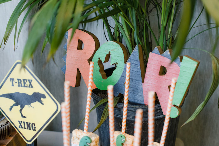 ROAR Sign from a Colorful Dinosaur Birthday Party on Kara's Party Ideas | KarasPartyIdeas.com (30)