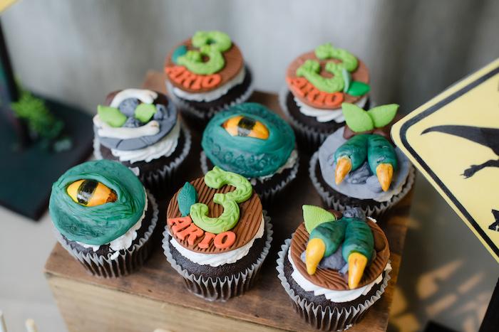 Dinosaur Themed Cupcakes from a Colorful Dinosaur Birthday Party on Kara's Party Ideas | KarasPartyIdeas.com (28)