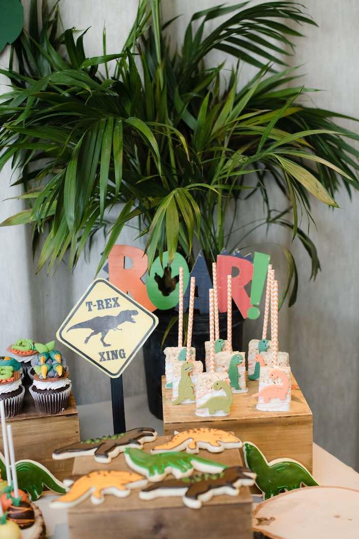 Dinosaur Themed Dessert Table Detail from a Colorful Dinosaur Birthday Party on Kara's Party Ideas | KarasPartyIdeas.com (27)