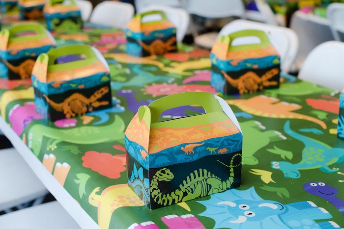 Dinosaur Themed Kid Table from a Colorful Dinosaur Birthday Party on Kara's Party Ideas | KarasPartyIdeas.com (25)