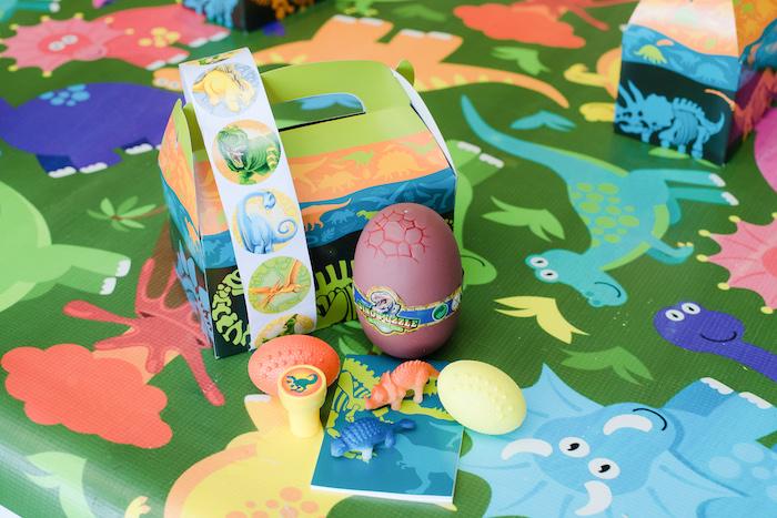 Dinosaur Party Favors + Gable Favor Box from a Colorful Dinosaur Birthday Party on Kara's Party Ideas | KarasPartyIdeas.com (24)