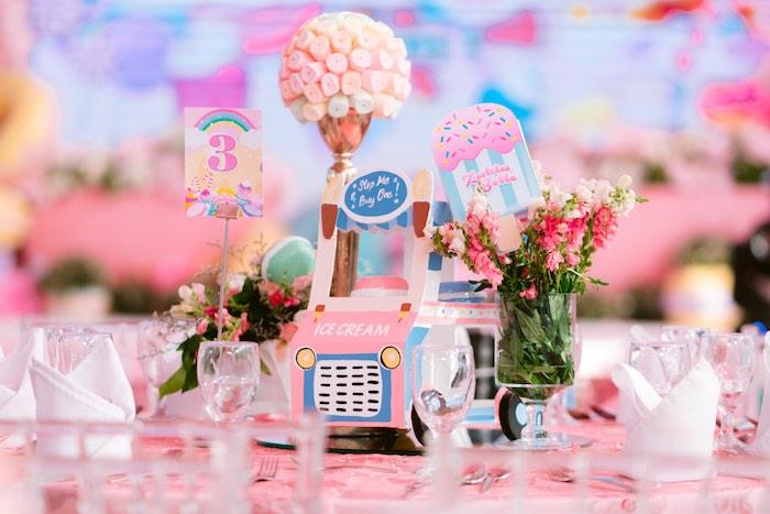 Dessert Themed Guest Table + Ice Cream Truck Centerpiece from a Dessert World Birthday Party on Kara's Party Ideas | KarasPartyIdeas.com (24)