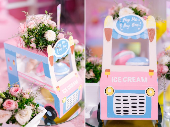 Ice Cream Truck Centerpiece from a Dessert World Birthday Party on Kara's Party Ideas | KarasPartyIdeas.com (37)