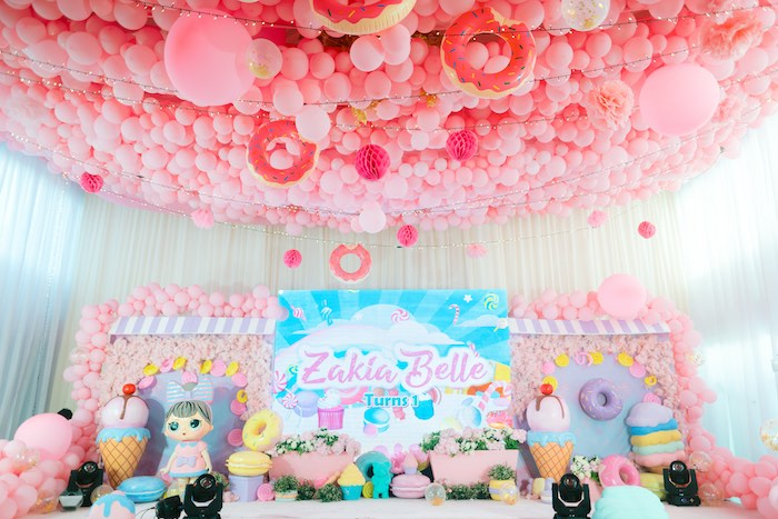 Dessert Themed Party Stage from a Dessert World Birthday Party on Kara's Party Ideas | KarasPartyIdeas.com (18)