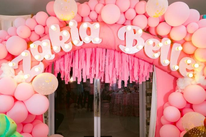 Balloon & Marquee Light Entrance Arch from a Dessert World Birthday Party on Kara's Party Ideas | KarasPartyIdeas.com (12)