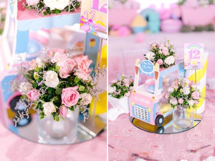 Ice Cream Truck Centerpiece from a Dessert World Birthday Party on Kara's Party Ideas | KarasPartyIdeas.com (36)