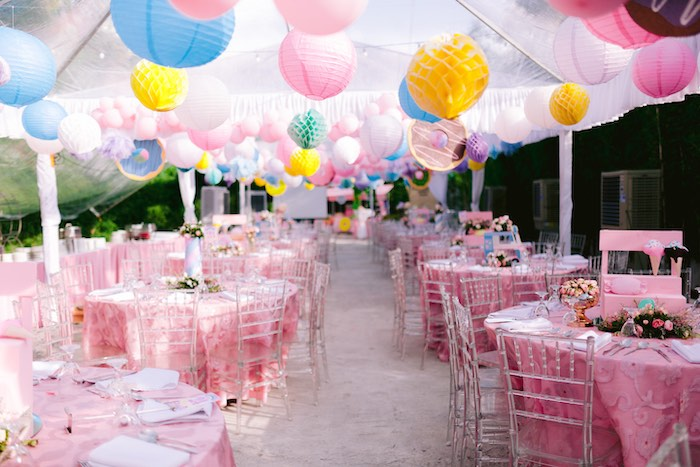 Guest Tables + Tissue Decoration Ceiling from a Dessert World Birthday Party on Kara's Party Ideas | KarasPartyIdeas.com (8)