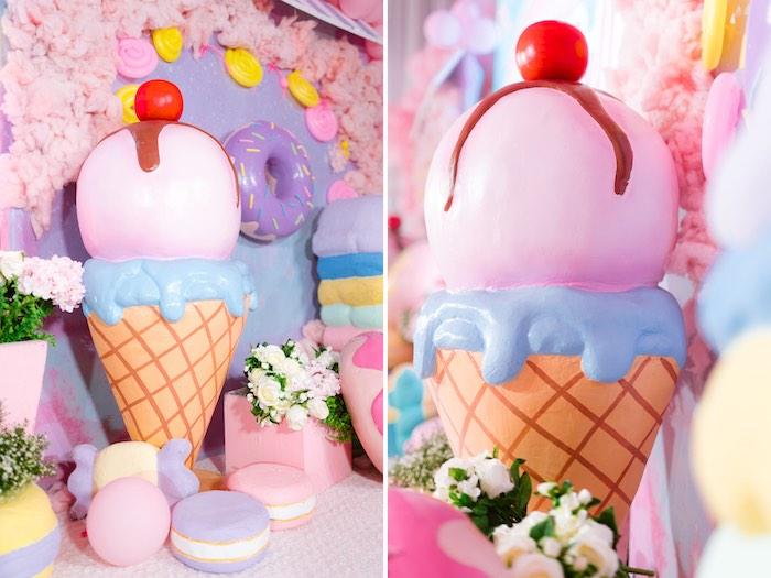 Ice Cream Cone Prop from a Dessert World Birthday Party on Kara's Party Ideas | KarasPartyIdeas.com (35)